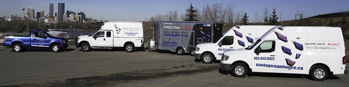 Vantage Appliances Inc. service trucks Calgary in background